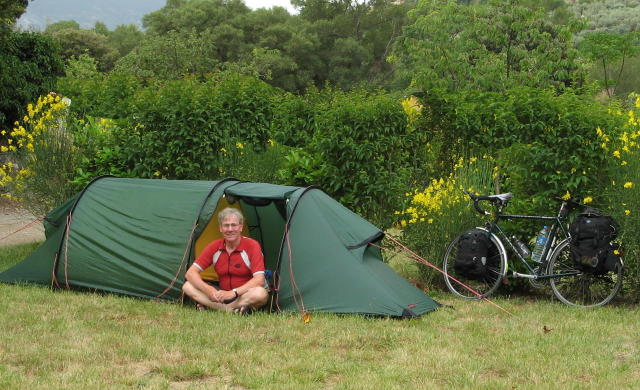 My bike and camping on the way to the Med